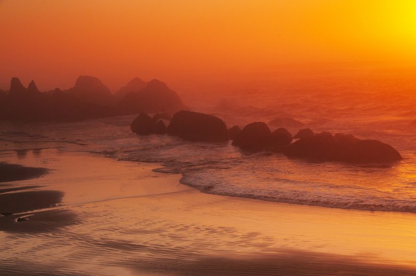 Misty Sunset at Seal Rock State Recreation Area