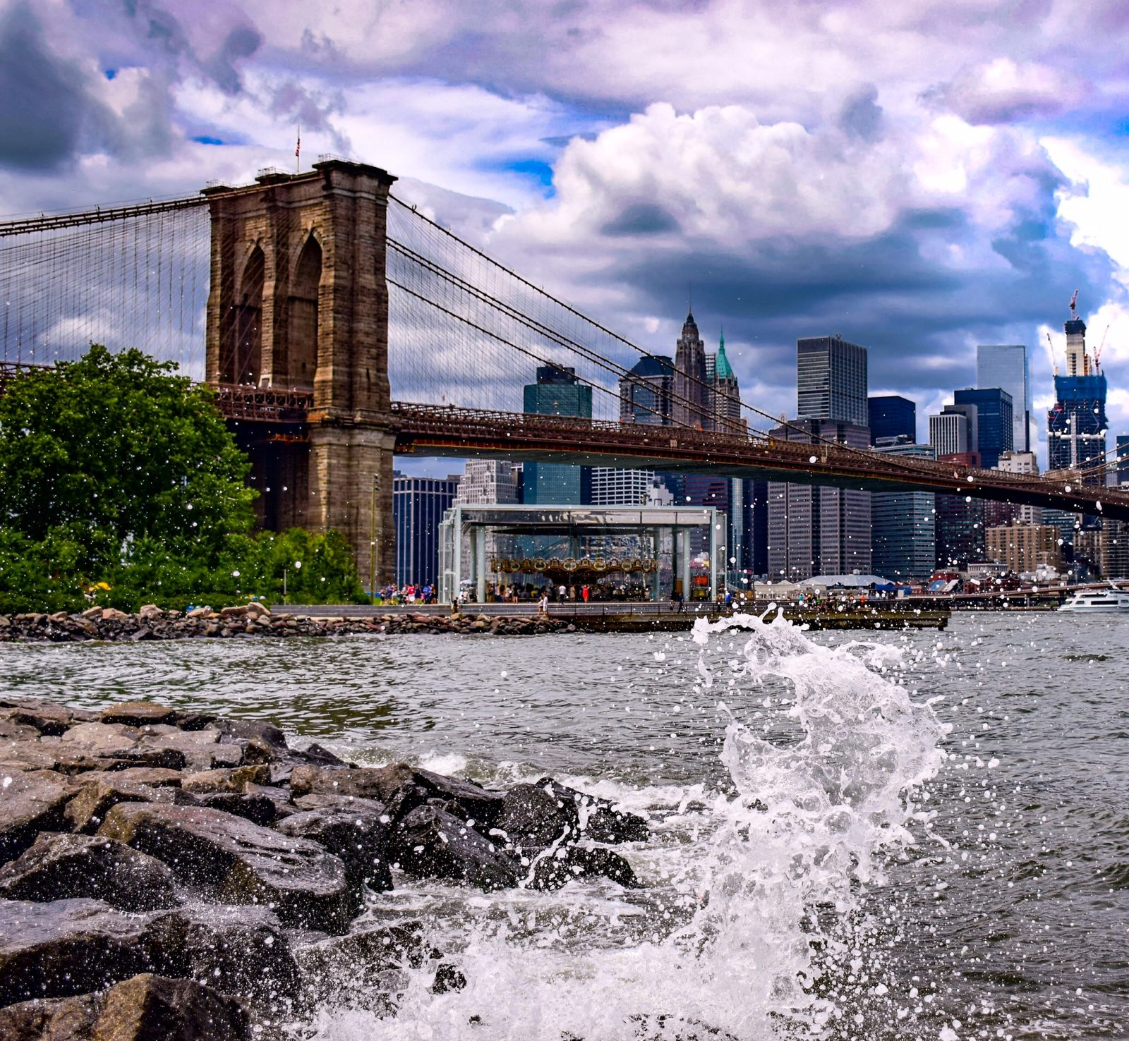 Crashing Waves on the Shore of the East River