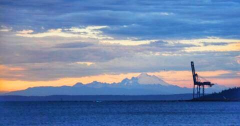 Port Townsend Bay, Indian Island and Mt. Baker at Sunset