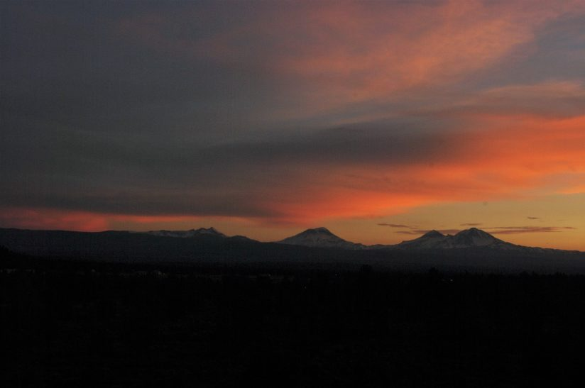 Early summer sunset  The Three Sisters and Broken Top