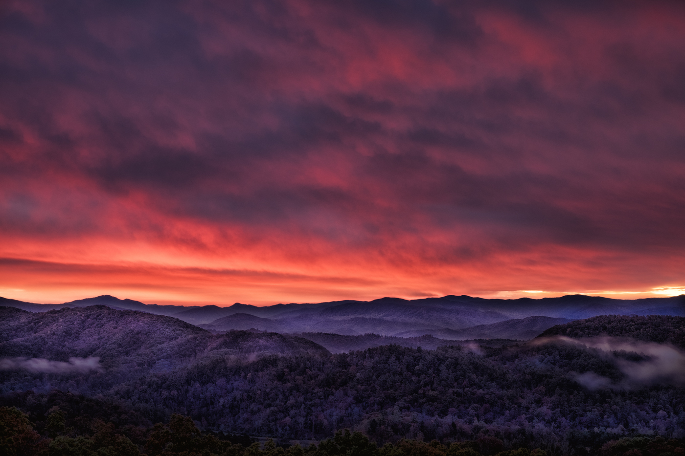 Sunrise Over the Smokey Mountains