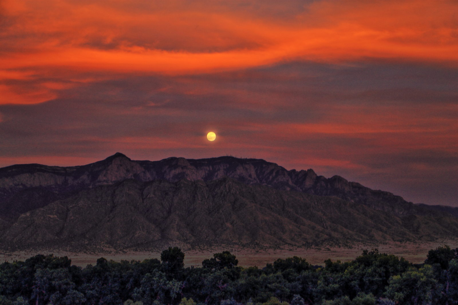 Moon Rise Over the Sandia Mountains