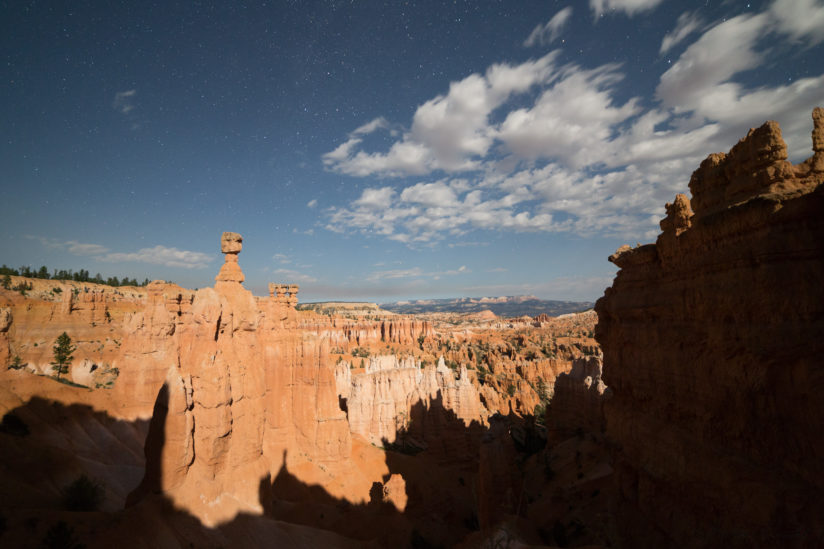 Moon shadows on Thor's hammer Bryce Canyon Nat. Park