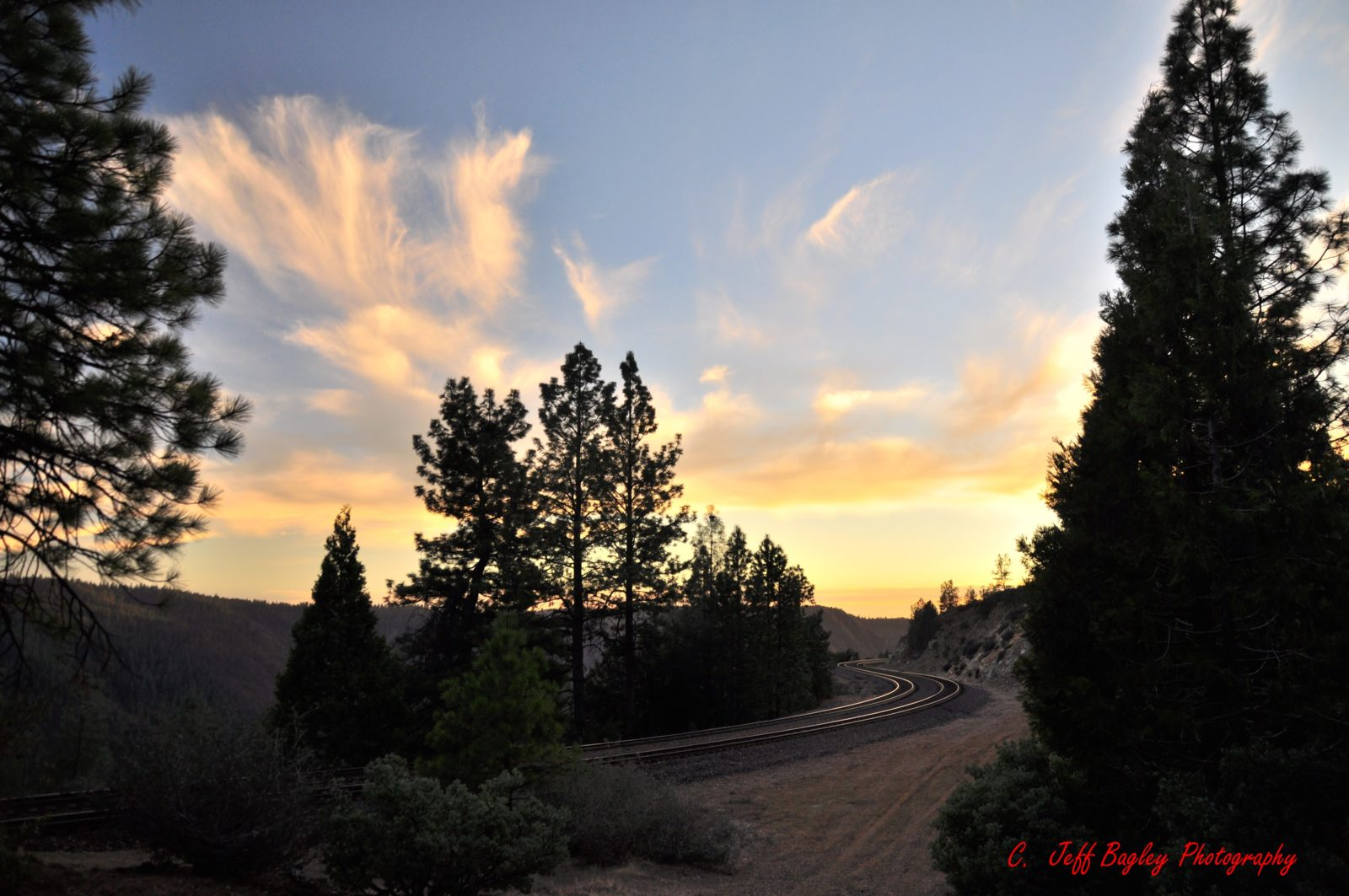 Sunset and Railroad tracks at Casa Loma, CA
