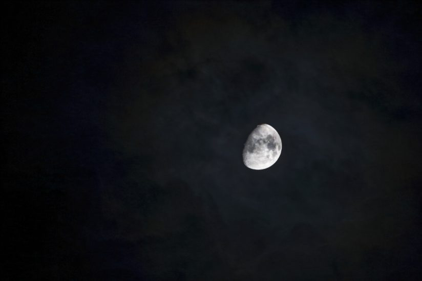 Waxing Gibbous Moon on a Cloudy Night