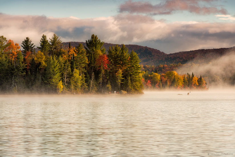 Morning fog in Lake Superieur, Quebec