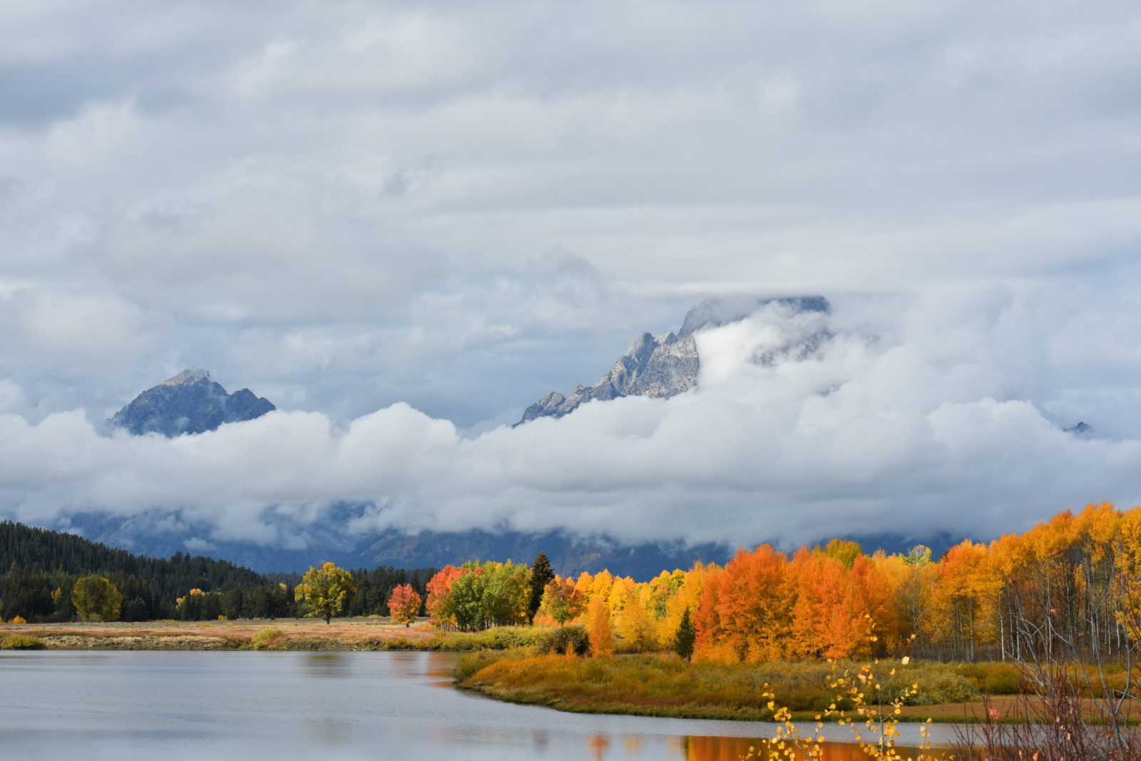 Cloudy and Colorful Oxbow Bend