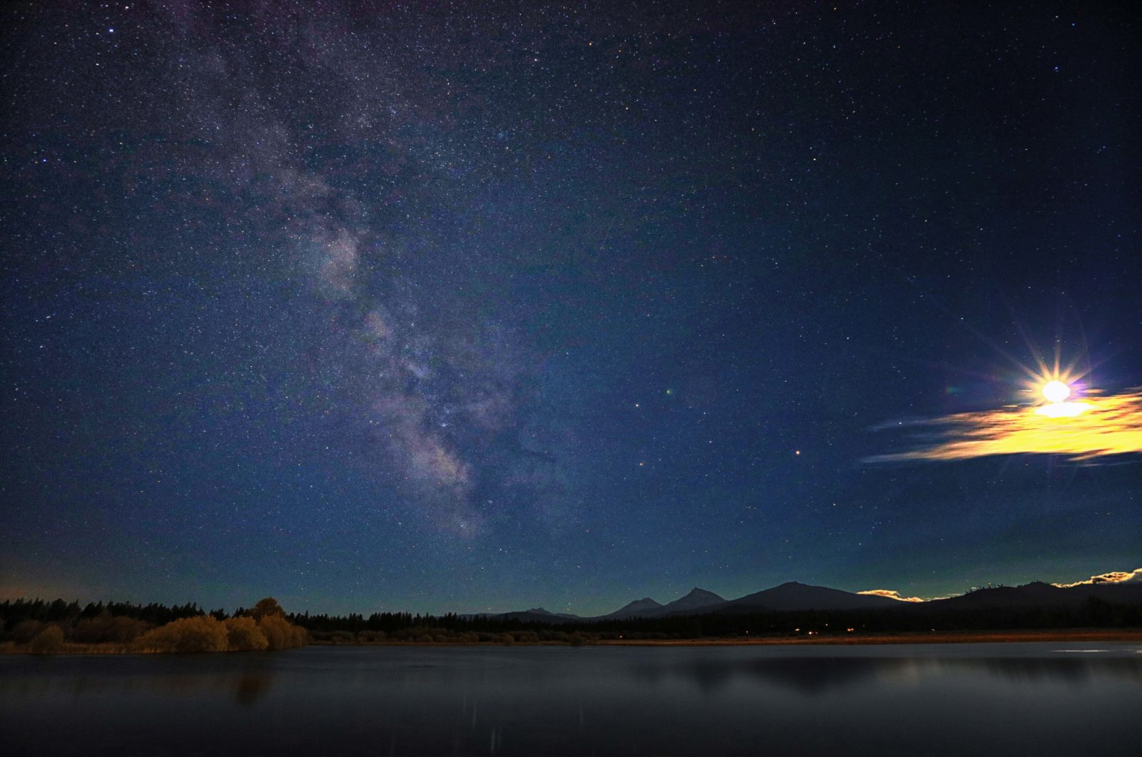 Moon and Milky Way