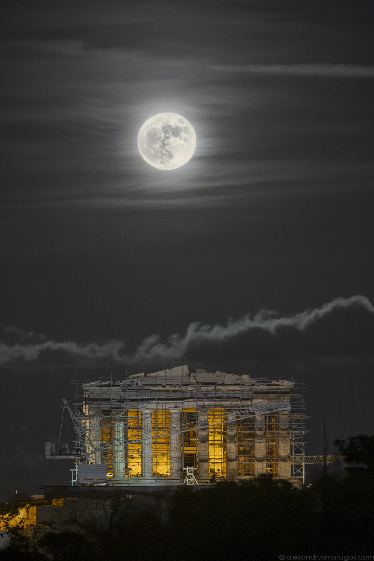 Supermoon over the Acropolis