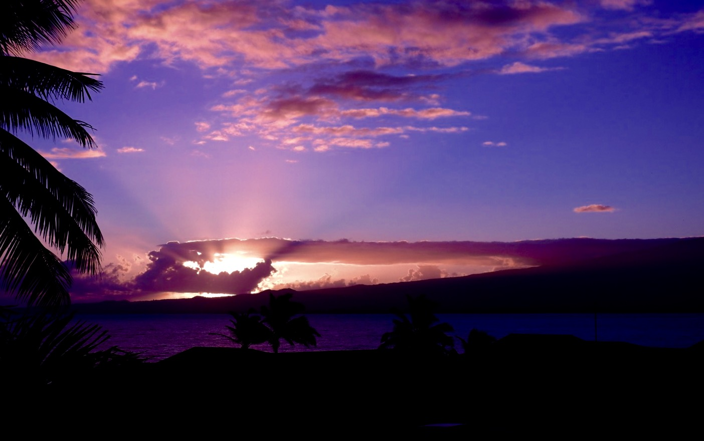 Sunrise over Kahului Harbor and Haleakala