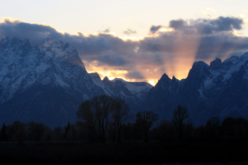 Sunset behind the Tetons