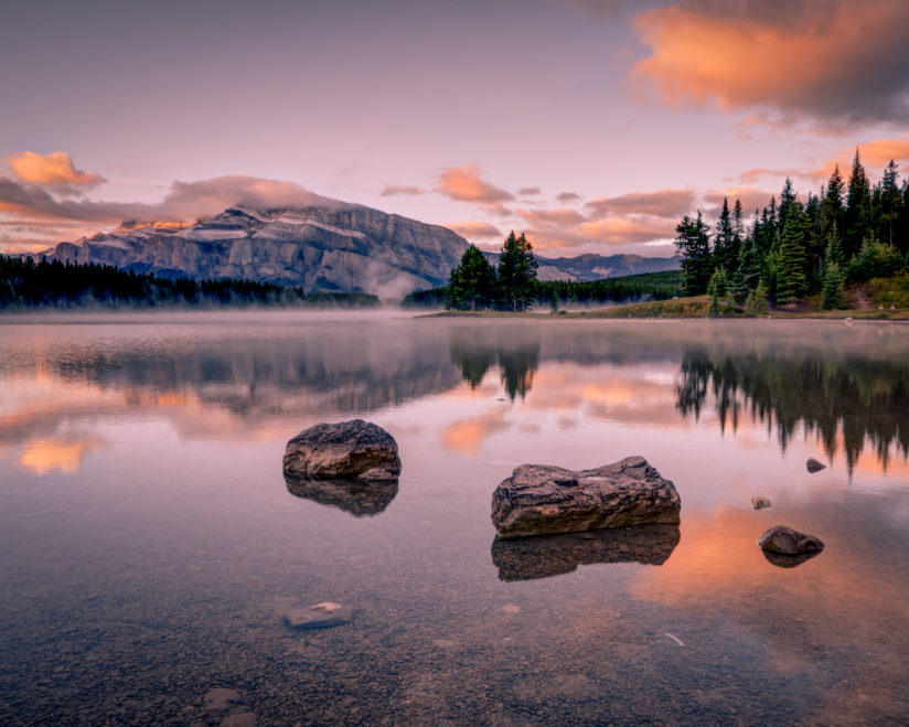 Two Jack Lake at Sunrise