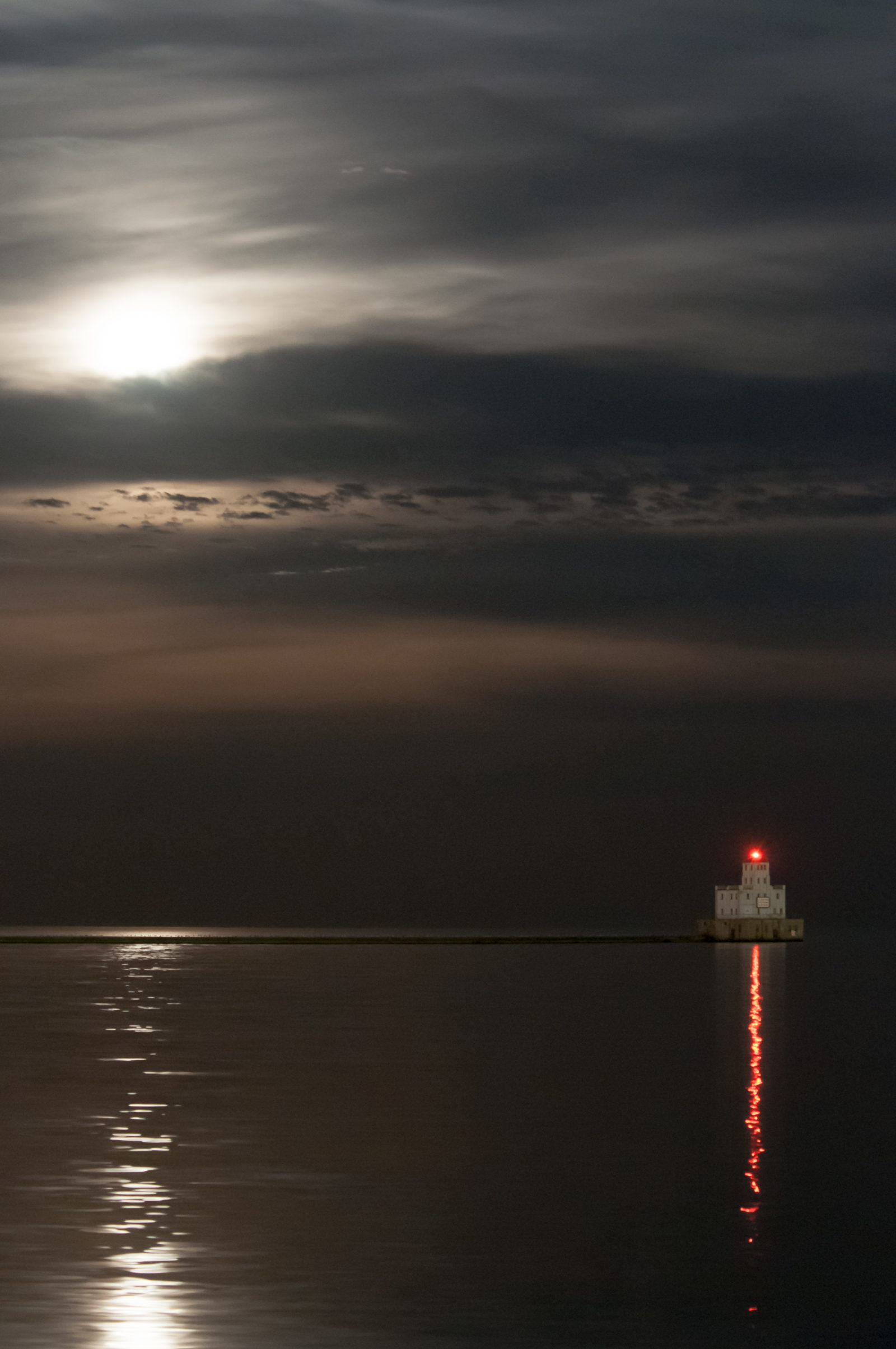Milwaukee Breakwater Lighthouse under the Super Moon, November, 2016