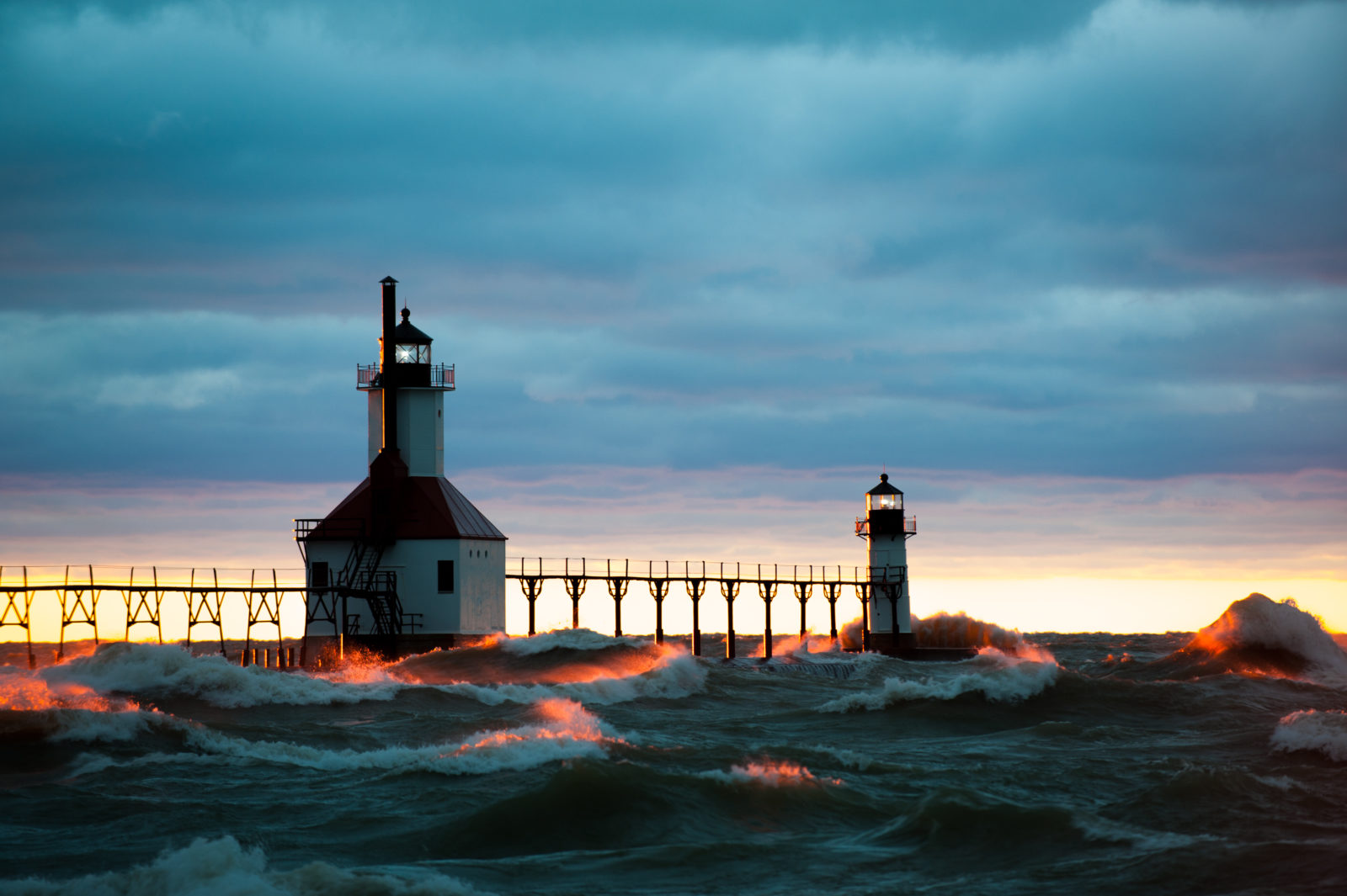 St. Joseph, MI, North Pier Lighthouses (Inner and Outer) at Sunset