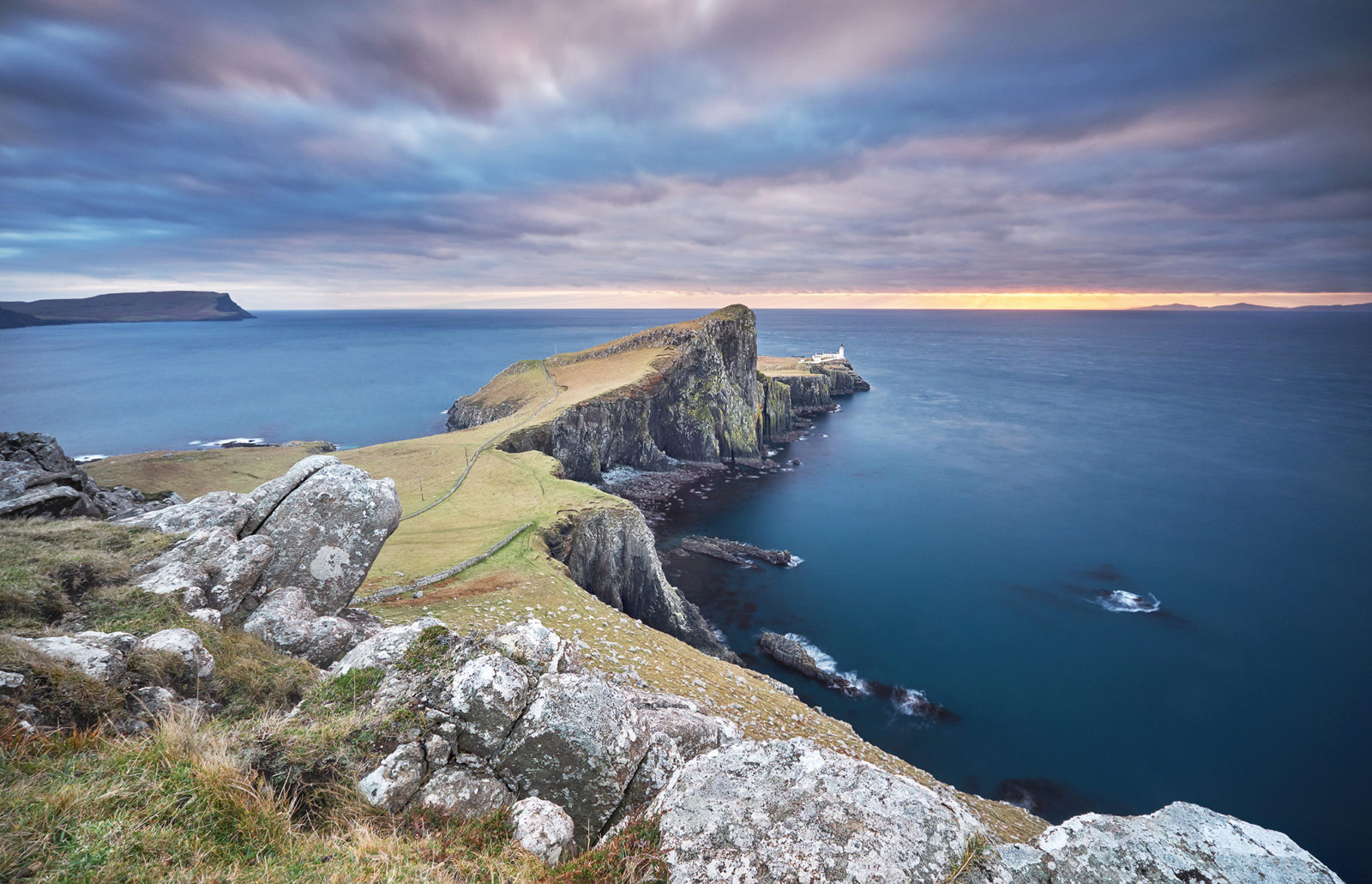 Cloudy sunset over the Neist Point lighthouse