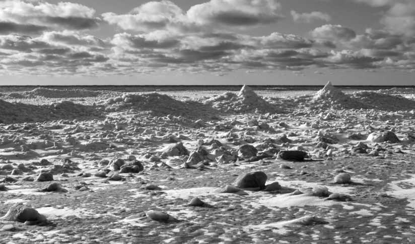 Frozen Snowy Waves Along Lake Michigan