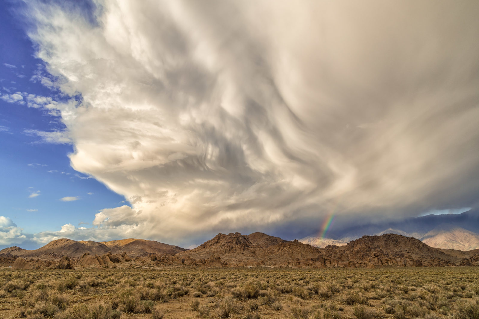 Alabama Hills Rainbow and Storm Cloud