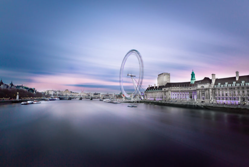 Inspirational movement of clouds at london eye in UK
