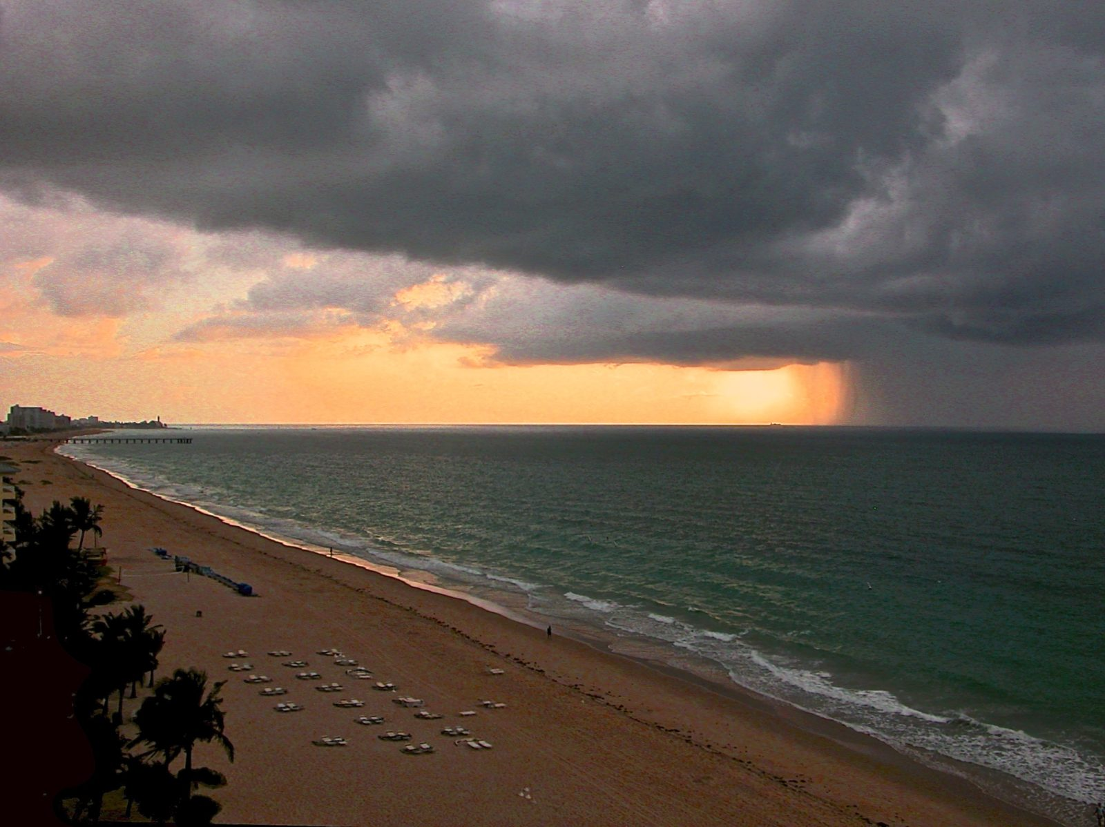 Approaching Storm off Deerfield Beach Lighthouse at Sunset
