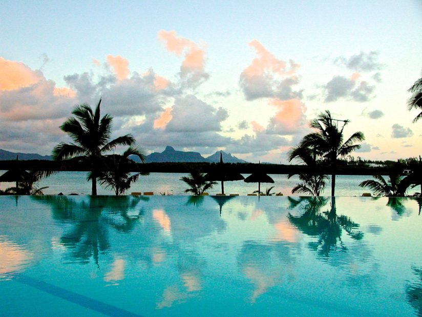 Infinity View of Vieux Grand Port Bay and Lion Mountain, Mauritius Island