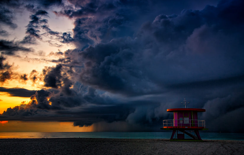 Storm At Sea During Sunrise