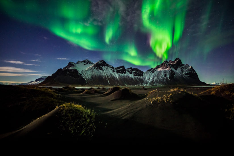 Night Fire over Vestrahorn Mountain