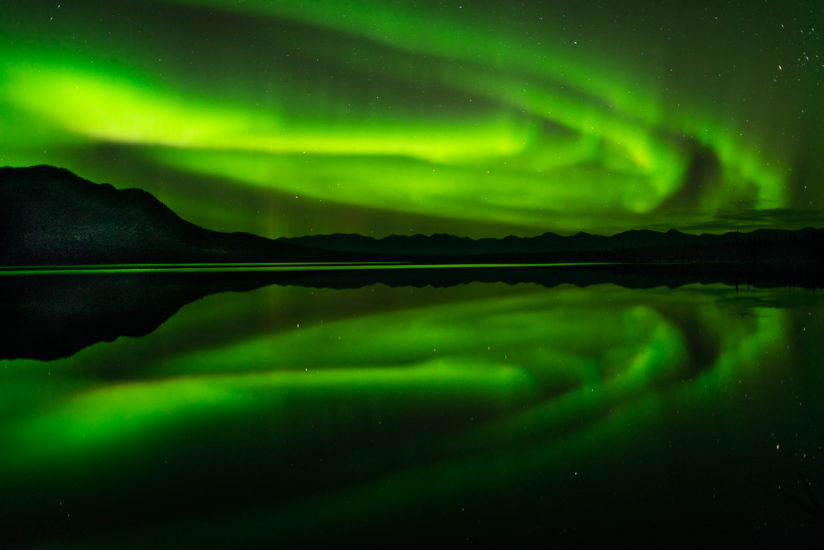 Northern Lights (Aurora Borealis) Over Alpine Lake, Yukon