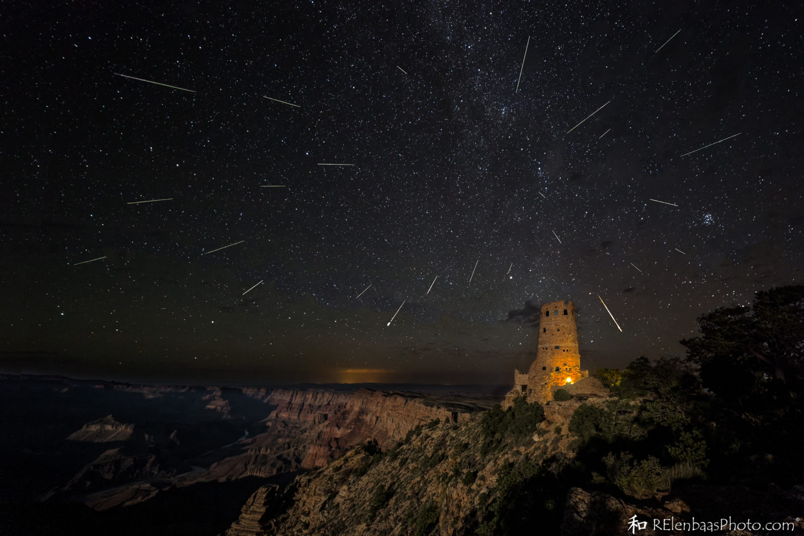 Perseid Meteor Shower over Desert View, Grand Canyon