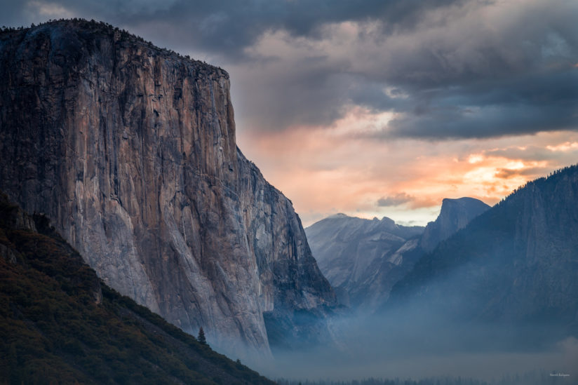El Capitan in the soft light of cloudy sunrise