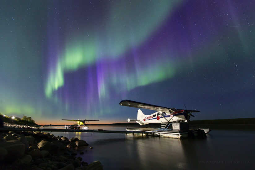 Aurora and Float Planes along the MacKenzie River
