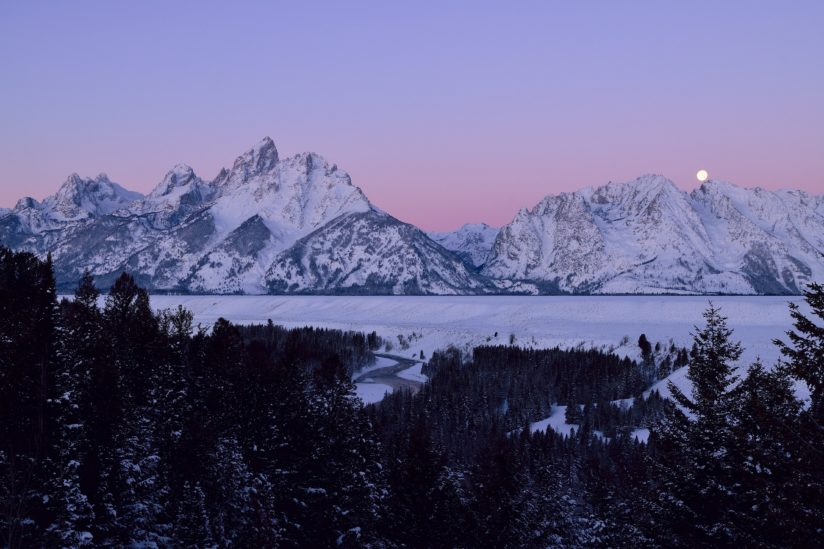 Teton Moonset / Sunrise