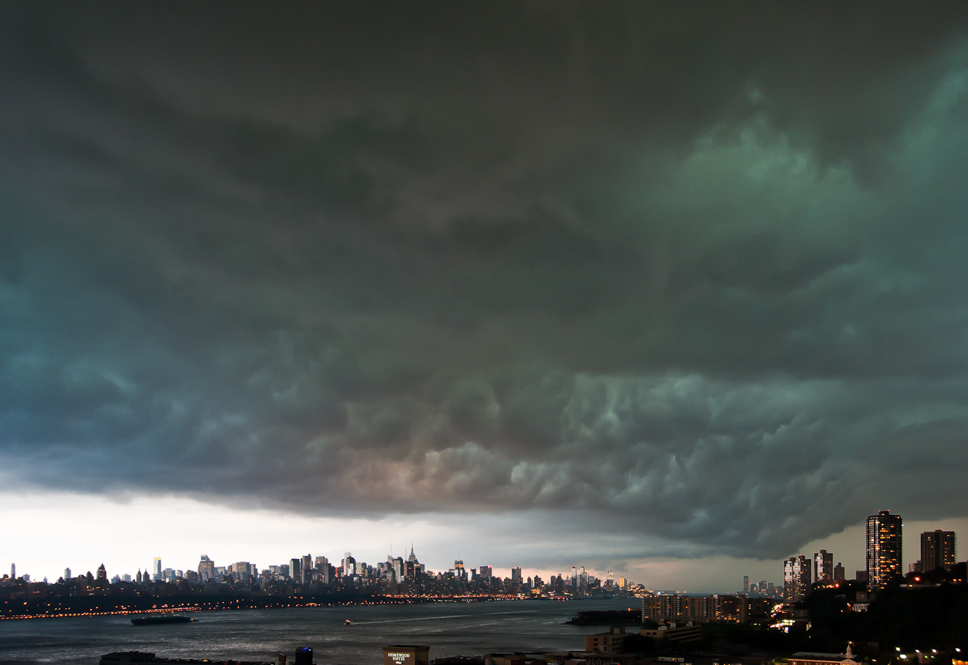 Rolling storm clouds over Manhattan