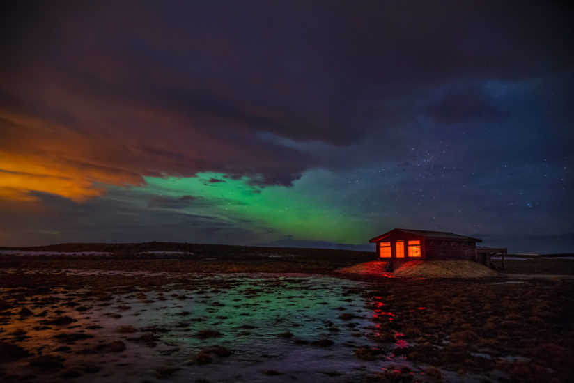 Hotel Observatory and aurora, Iceland