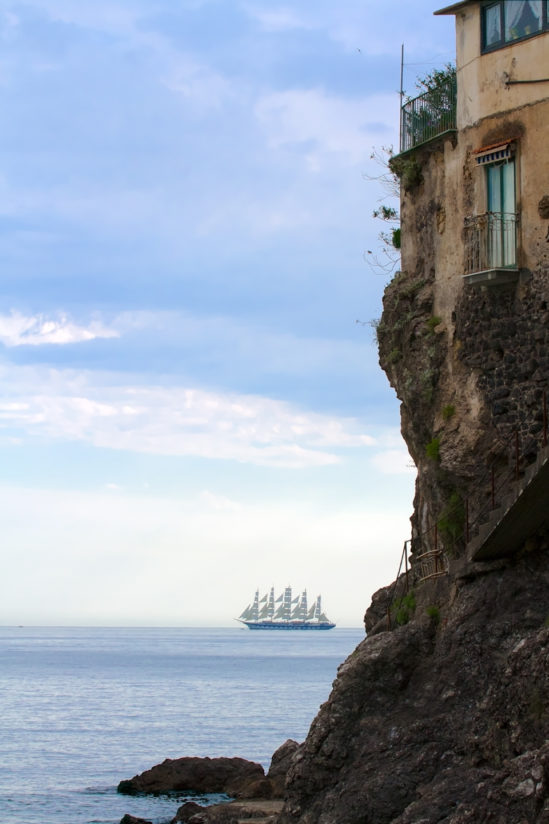 Clipper ship, ancient buidling, Italy