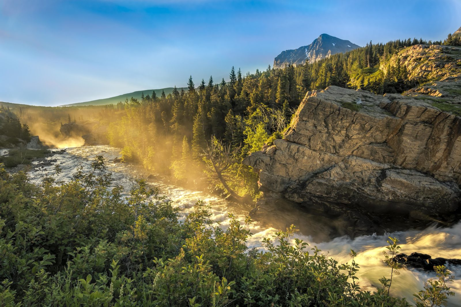 Morning at Swiftcurrent Falls