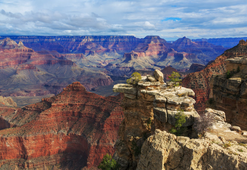 Exciting view from South Rim of Grand Canyon, Arizona, US