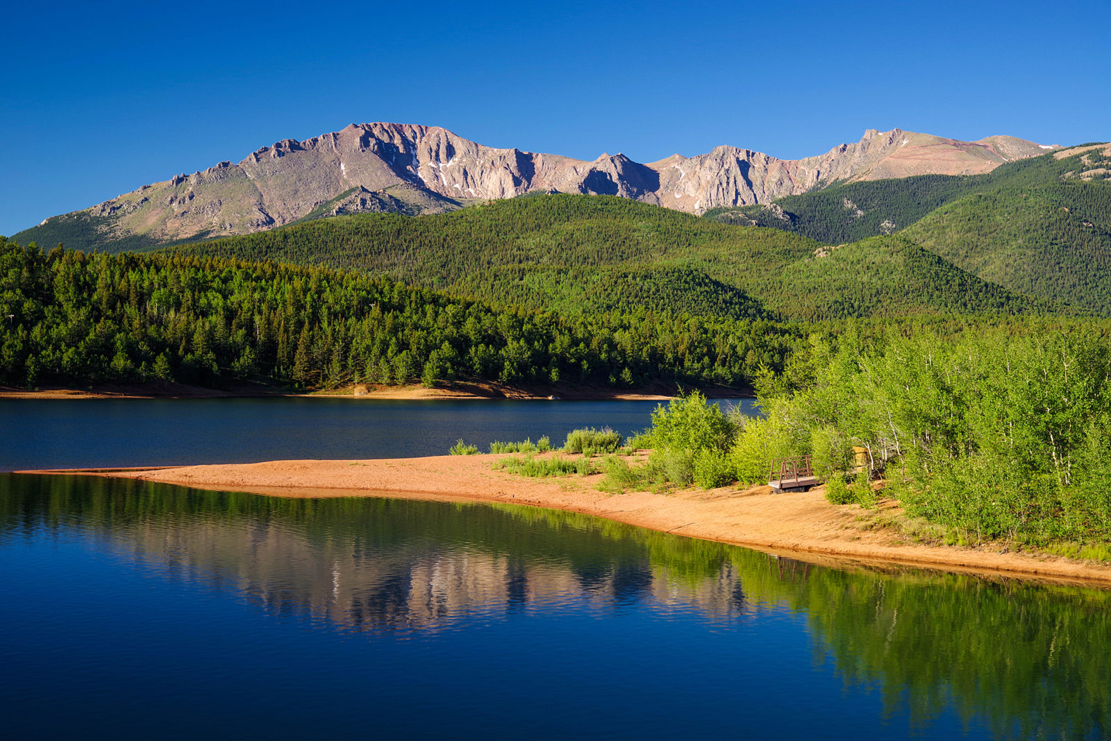 Pikes Peak and Reflection in Crystal Reservoir