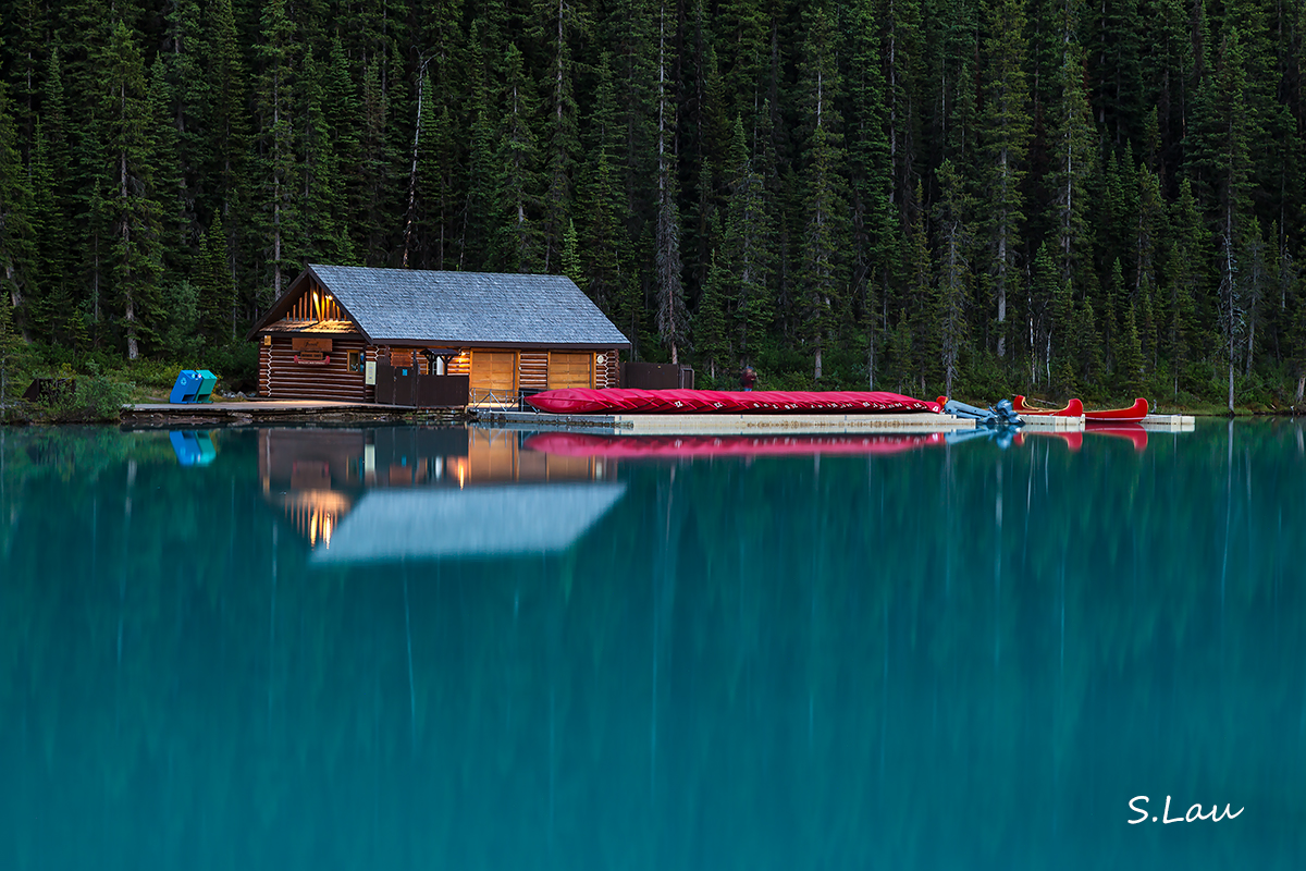Boat house at lake louise