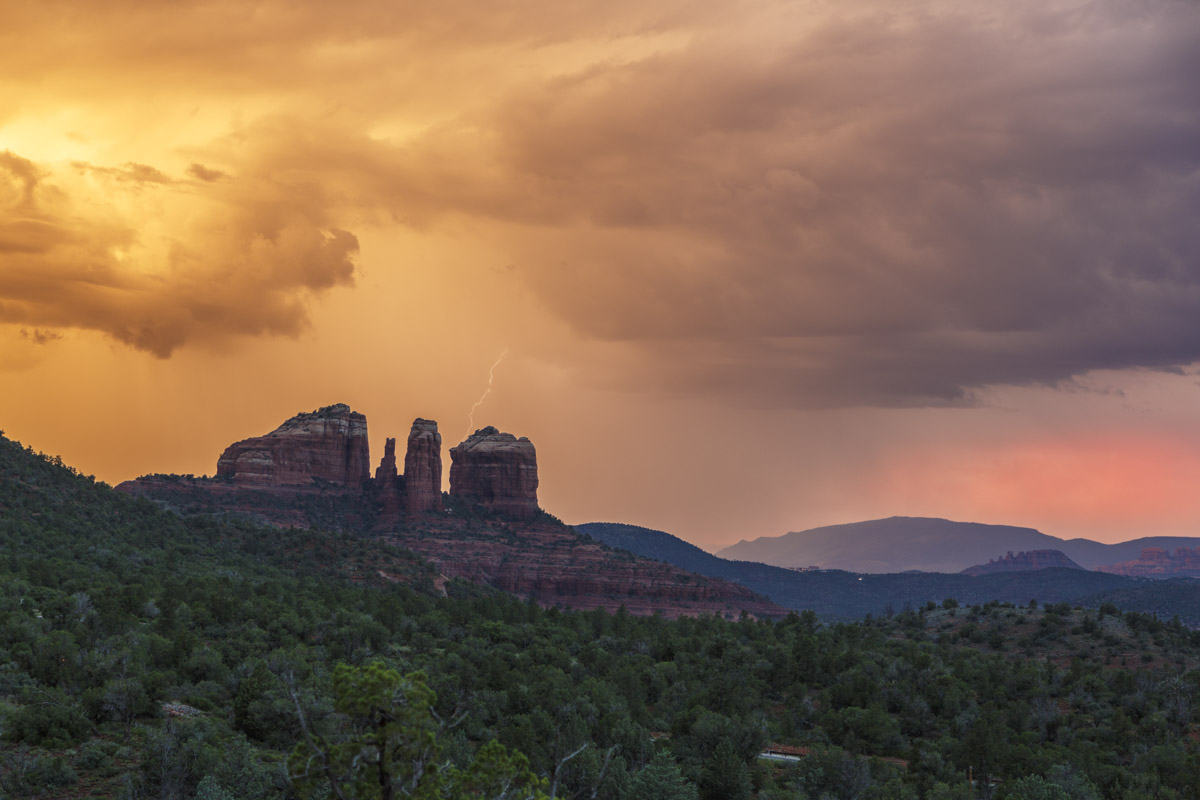 Sunset and Lightning behind Cathedral Rock