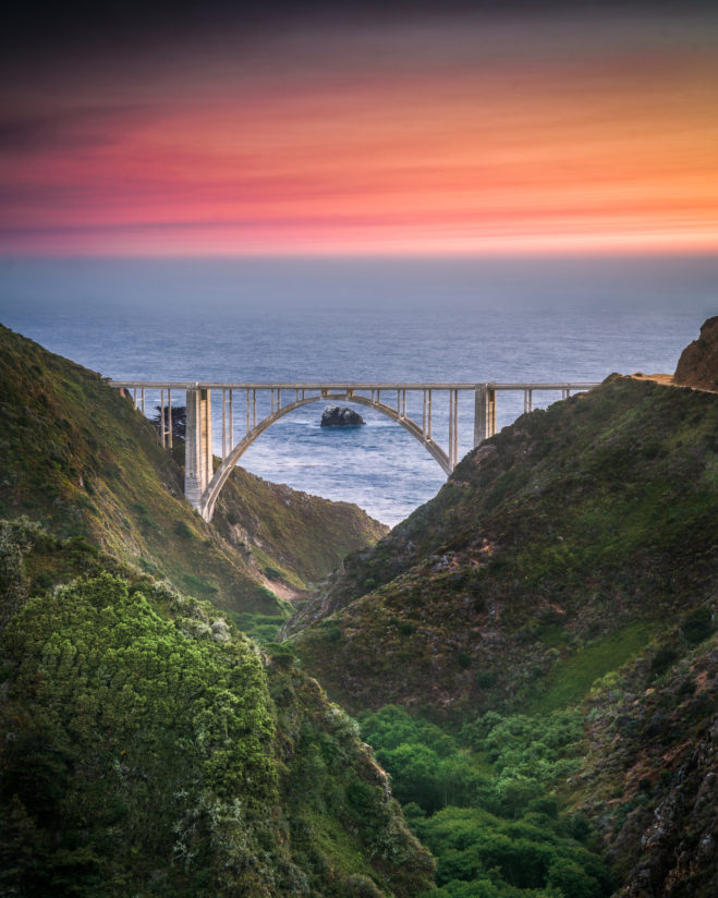 Bixby Bridge Sunset from Old Coast Rd