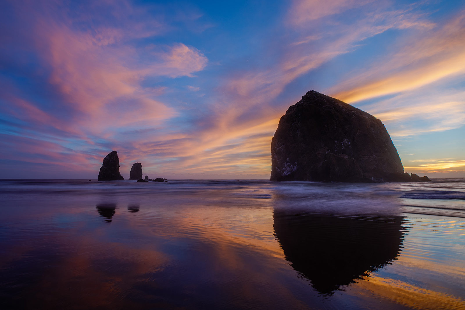 Sunset Reflections of Haystack Rock