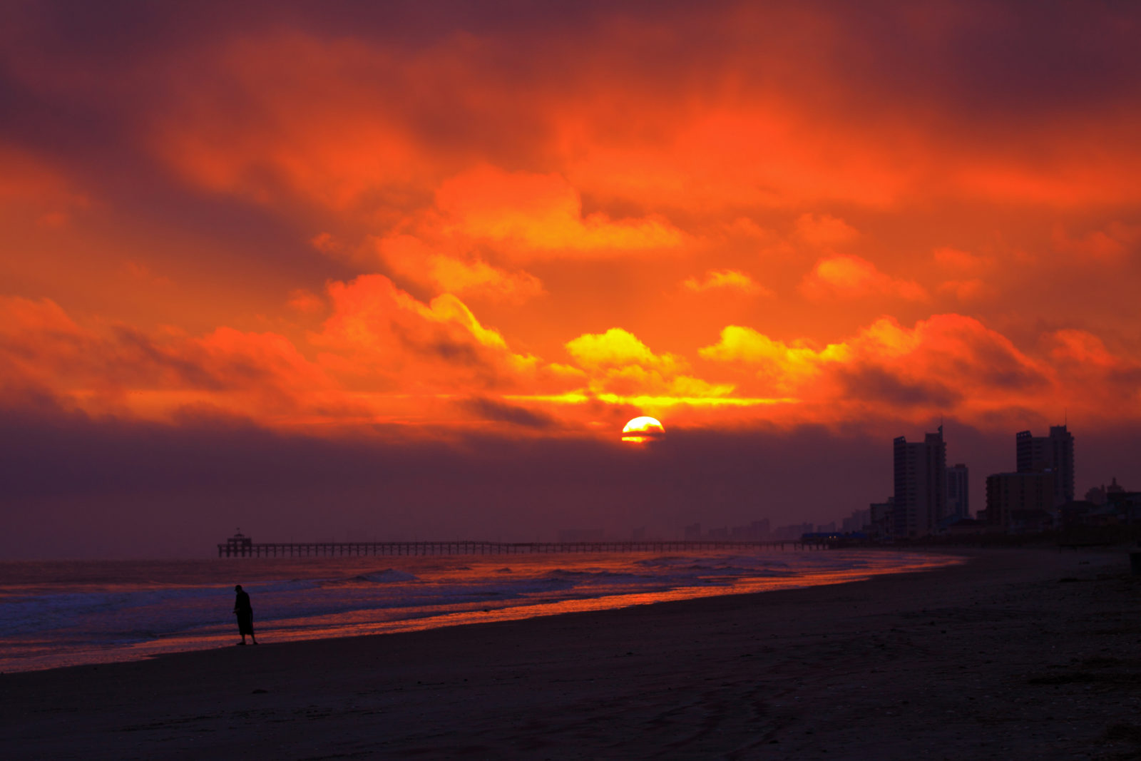 Fiery Sunset on a Cloudy Afternoon