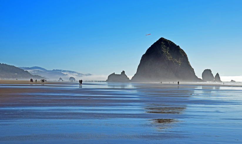 Haystack Rock With Fog and Kite, Oregon Coast