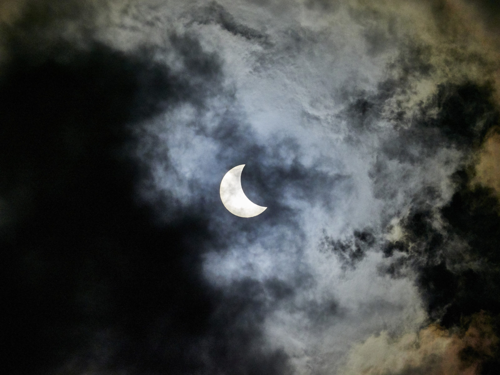 2017 Solar Eclipse with clouds
