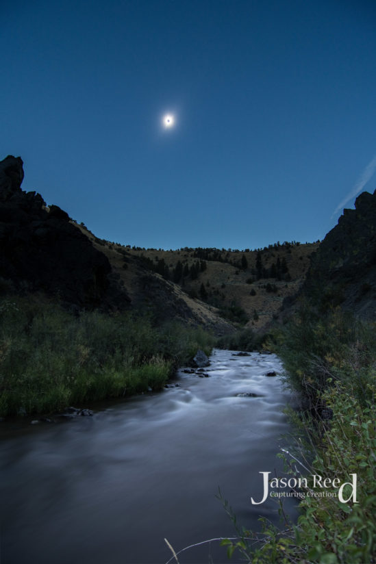 Total Solar Eclipse Over the Burnt River in Oregon