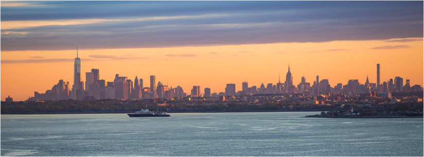 New York city skyline at sunrise