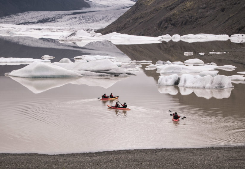Kayakers on the Glacier