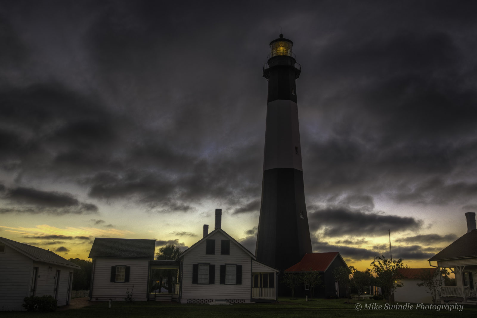 Storm clouds over lighthouse