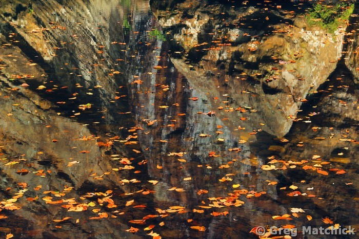 Autumn Leaves and Reflections in Bay Creek
