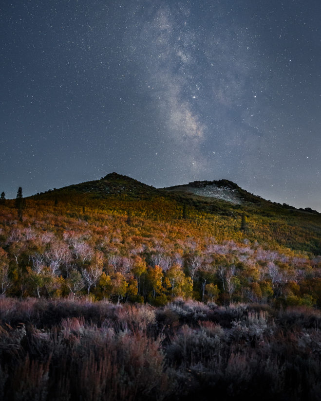 Milky Way Over Eastern Sierra Fall Colors